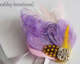 Lavender Purple Peacock Feather Wristlet IRIDESSA Corsage Cuff Bracelet Gray Yellow Feathers Rhinestone Silver Ribbon Ties Prom Bridesmaid