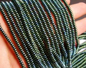 Hematite - 4 mm rondelle beads - full strand - 205 beads - A quality - aqua green hematite - PHG1