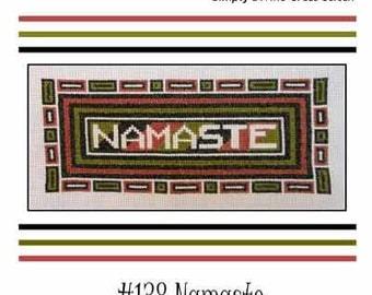 PDF Emailed Namaste Greeting Yoga Cross Stitch Pattern Sampler Design 138