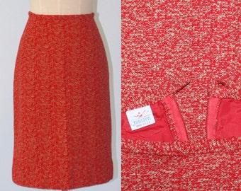 Vintage 1960s pencil skirt . JANTZEN . red knit tweed skirt . 60s retro secretary skirt . wiggle skirt . mad men