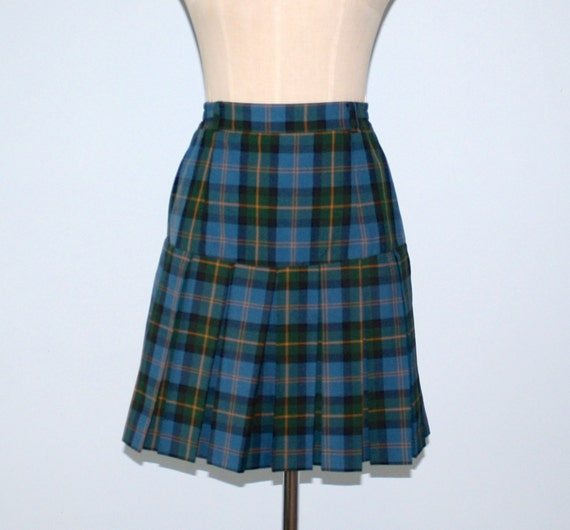 image green plaid pleated mini skirt