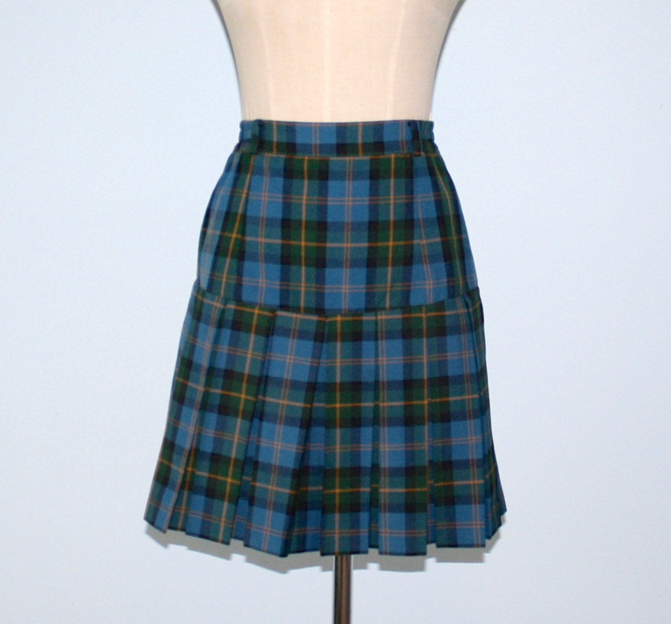 vintage plaid pleated skirt blue green high by