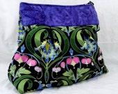 Cross Body Bag, Black and Blue, Garden Divas, Jane Sassman, Peacock Blue Irises, Bleeding Hearts, Shoulder Bag, Jennifer Paganelli