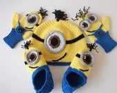 COTTON-Despicable Me Minion set-Minion Hats , Minion Mittens Gloves and Booties- Baby Boy Girl Photo Prop Set -baby halloween outfits