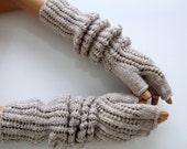 """Oatmeal Colored  Half Finger- Fingerless Gloves-Length:17 """"-Extra Long"""