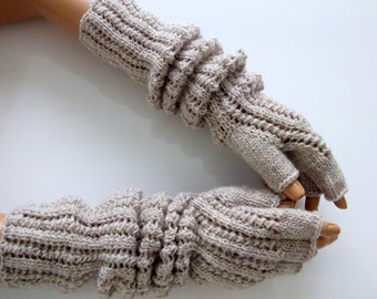 "Oatmeal Colored  Half Finger- Fingerless Gloves-Length:17 ""-Extra Long"