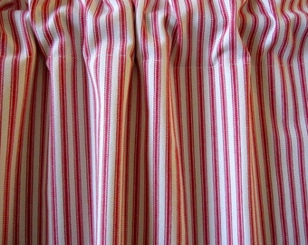 Curtain, Cabinet Curtain, Sink Curtain, Americana Red Woven Cotton Ticking Stripe Cabinet Curtain Panel 50 x 34