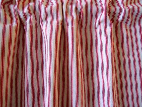 Ticking Stripe Curtain Red Ticking Cabinet Curtain Or Sink