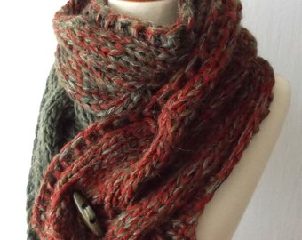 Chunky Winter Scarf Big Cabled Moss Green Copper Cinnamon Cowl Hand Knitted