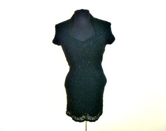 Vintage 80's Black Mesh Mini-Dress with Streaming TInsel Accents and Sweetheart Collar Neckline by All That Jazz Size Small