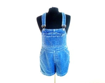 Vintage 90's Bill Blass Denim Overall's with Shorts Women's Size Large