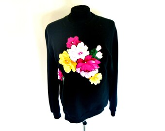 Vintage 80's Neon Floral Patches with Glue-Paint Borders and Pearl Stamens Black Sweatshirt Men's XL