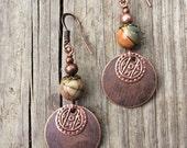 Copper Bohemian Earrings, Copper Boho Earrings, Copper Jewelry with Natural Stone