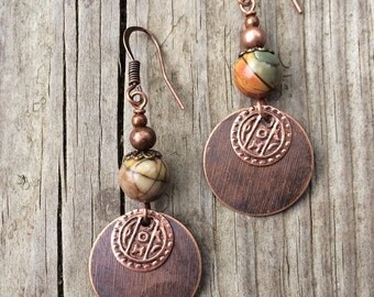 Copper Bohemian Earrings, Copper Boho Earrings, Copper Jewelry with Natural Stone