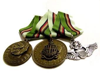 Steampunk Cosplay Medal // Custom DOUBLE CHARM Medallion // Green Red Navy Multi Striped Ribbon