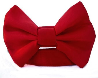 Satin Wedding Bow Tie Dog Collar - Red Satin