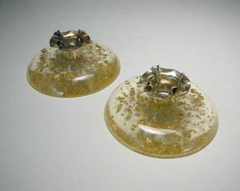 Rare Vtg Gold Fleck confetti dust lucite acrylic candlestick holder Mid century modern Atomic