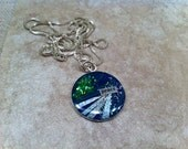 PEACE RESIN Pendant One of a Kind Blue Green Silver tones Unique Pretty Peaceful with Sterling Chain