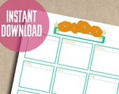 Yearly Planner in Orange Floral Printable Instant Download