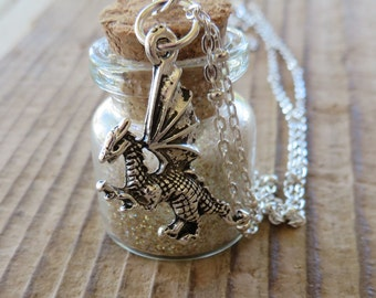 Game of Thrones Viserion Dragon Inspired Cream and Gold Glitter Apothecary Jar with Silver Dragon Charm Necklace