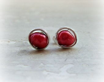Cranberry Pearl Stud Earrings, Sterling Silver Studs,Freshwater Pearl Post Earrings,Wire Wrapped Posts,Red Post Earrings, Cranberry Red Post