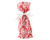 Red and White Damask Wine Bottle Bag for Christmas, Valentine's Day, Engagement, or Any Occasion