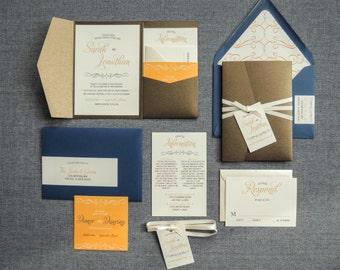 "Navy and Orange Wedding Invitations, Brown Invitations, Vintage & Rustic Invites - ""Enchanting Vintage"" Pocketfold, No Layers, v3 - SAMPLE"