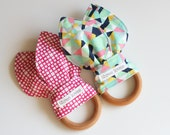Natural Wooden Teething Ring Toy - Set of 2 - Choose your Fabric!