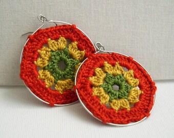 Granny Hexagon Earrings - Big hoop earrings - Orange mustard olive - Granny square earrings - Lace Fashion - boho chic - Retro fashion