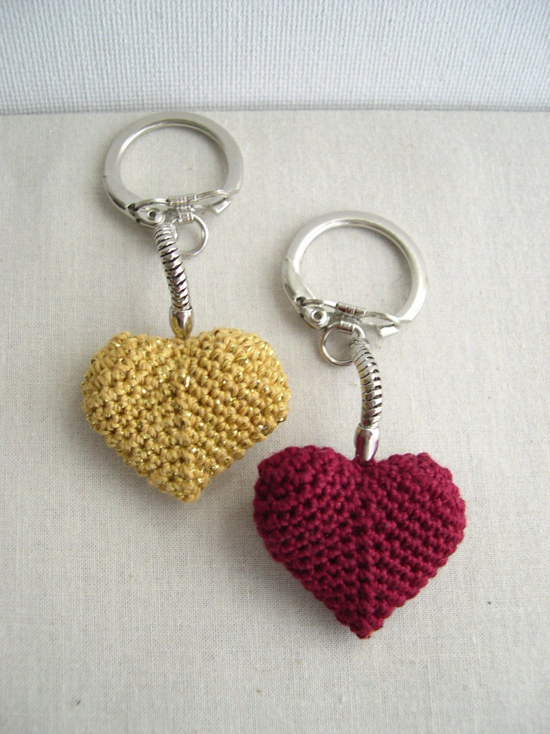 Red Heart keychain - Golden Keychain - Heart keychain - crochet ...