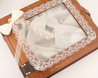 Wedding Stefana Case - Brown wood with ivory lace