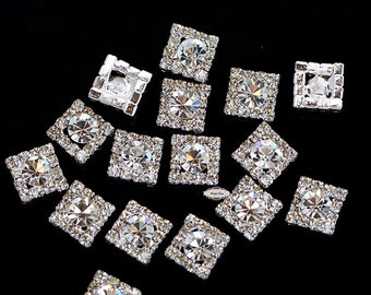 20 Small Square Rhinestone Buttons Square Diamante Crystal Hair Flower Clip Wedding Invitation Scrapbooking Ring Pillow RD349