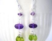 Purple and green Earrings Amethyst Gemstone Birthstone Jewelry Dangle Sterling Silver ook
