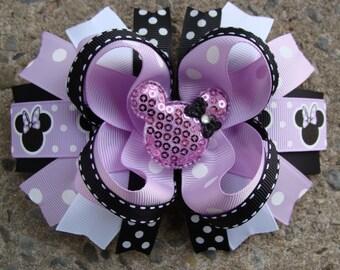 Minnie Mouse Hair Bow-Large Hair bow - Lavender and Black Polka Dots Minnie Mouse Hair Bow