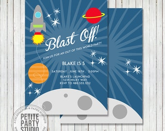 Spaceship Printable Party Invitation - Birthday or Baby Shower - Petite Party Studio