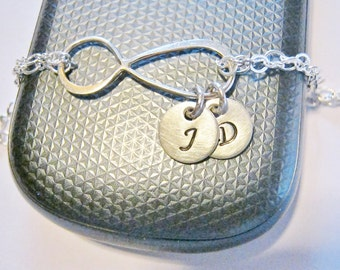 Infinity Bracelet with Initials, Personalized Infinity Jewelry, Mother of the Bride Gift, Mother of the Groom Gift, Letter Charm Bracelet