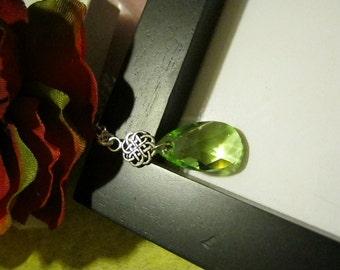 Peridot Swarovski Crystal Necklace, Sterling Silver, Celtic Necklace, August Birthstone Necklace