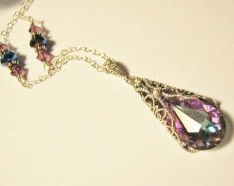 Spring Sale! Crystal Necklace, Swarovski purple necklace, Bridesmaid Jewelry, Wedding Jewelry