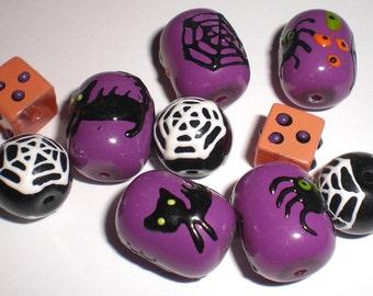 Halloween Glass Beads - Set of 10 - Black/Purple/Orange Spider Web/Cat/Spider