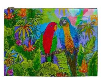 Parrot Cosmetic Bag, Tropical makeup bag, Cruise Ship Wet swim suit bag, Parrots Travel pouch, Extra Large zipper pouch, Island cosmetic bag