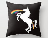 Roller Derby Unicorn and Rainbow Pillow - Unicorn Gift - Happy Pillow - Cushion - 16x16 18x18 20x20 Pillow Cover