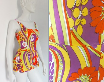 Vintage 60s 70s Swimsuit Bathing Suit Psychedelic Paisley Florals Small to Medium Never Worn
