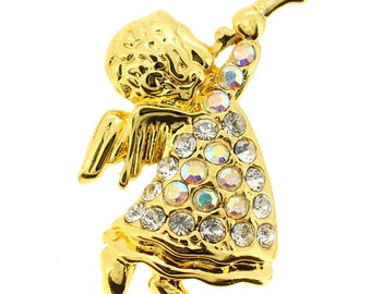 Angel With Horn Crystal Pin Brooch 1001473