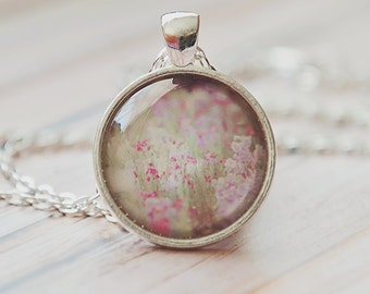 flower necklace, gift for her, purple flower print, photo pendant, nature photography, silver jewelry, under 20, stocking stuffer