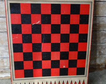 Vintage Retro Checker Board with reverse pong Black and Red Made in the USA