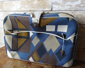 Vintage Suitcase Geometric Pattern 1970's Adorable