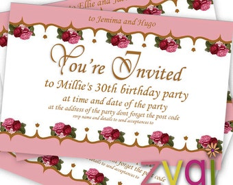 Vintage shabby chic tea party invitation - Printable - Editable - INSTANT DOWNLOAD