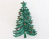 Vintage rhinestone Christmas tree brooch pin green enamel
