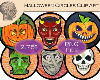 Printable Digital Halloween Decor Circle Clip Art Graphics DIY Monsters Tags Clipart Pumpkin Clipart Rounds Instant Download