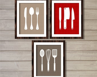 Kitchen Cutlery Wall Art Printable - Set of 3 - Red, Grey, Taupe - 8x10 - Instant Download Digital Poster Kitchen Gifts Home Decor